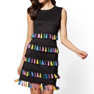 Black Tassel Accent Shift Dress